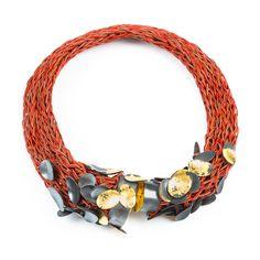 Brooke Marks-Swanson. Neckpiece: Basket #14, 2016. Leather, silver, 22k gold leaf.