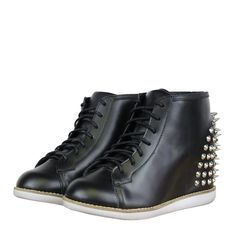 Jeffrey Campbell Edea Spike Womens Wedge Hi Top Trainers AW12 Black from www.hypedirect.com Jeffrey Campbell, Cool Girl, Combat Boots, Trainers, High Top Sneakers, Footwear, Wedges, Lady, Shoes