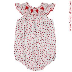 Red Hearts Smocked Girls Bubble! Sale Price: $26.34