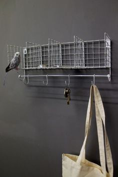 Distressed Metal Wall Storage with Hooks - White