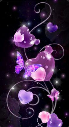 Pink Wallpaper Heart, Wallpaper Iphone Love, Butterfly Wallpaper, Cute Wallpaper Backgrounds, Cellphone Wallpaper, Cute Wallpapers, Diy And Crafts, Cool Designs, Rainbow