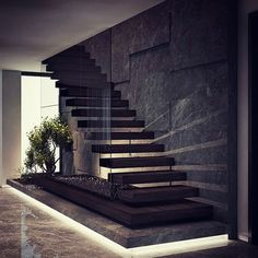 By Demirhan Gurman Via: by architecture_hunter Home Stairs Design, Interior Stairs, Home Room Design, Office Interior Design, Modern House Design, Luxury Interior, Modern Stairs Design, House Staircase, Floating Staircase