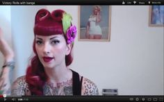 Vintage Hair Victory Roll Tutorial With Bangs by CHERRY DOLLFACE