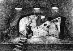 """Projekt scenografii do spektaklu """"Symfoniczna wazelina"""" - 2000 wersja 1"""