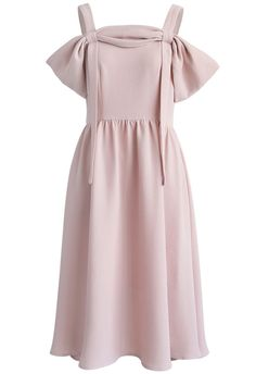 Be a Goddess Cold-shoulder Midi Dress in Pink - New Arrivals - Retro, Indie and Unique Fashion