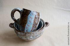 Сервизы, чайные пары ручной работы. Ярмарка Мастеров - ручная работа. Купить Сервиз бирюзово-коричневый. Handmade. Глиняная посуда