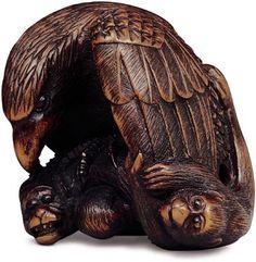 Nobukazu early 19th century wood eagle and monkeys