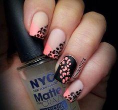 Black and Pink Cheetah Nails
