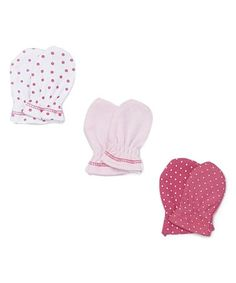 Love this Pink Dots Mitts Set on #zulily! #zulilyfinds