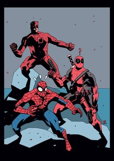 Marvel: Red Team // artwork by Luke Parker Featuring Deadpool, Spider-Man and Daredevil. Marvel Comic Character, Marvel Characters, Marvel Heroes, Spiderman Marvel, Avengers Comics, 3d Character, Character Concept, Mike Mignola Art, Dc Anime