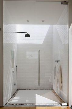 skylight + stones at shower