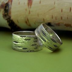 Two Birch Bark Wedding Rings in Sterling Silver by esdesigns, $130.00