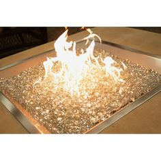 outdoor square crystal fire pit