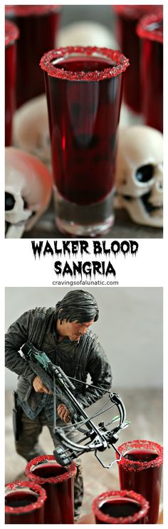 Walker Blood Sangria for Dead Eats: Recipes Inspired by The Walking Dead- Just because the world is ending and there are walkers everywhere that's no excuse not to entertain in style. Lock the doors, turn out the lights and sip this Walker Blood Sangria. A little wine, a little pomegranate juice and you've got a party.