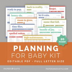 Planning for Baby Kit — Paper + Oats — editable, printable, planner, organizer, baby checklist, pregnancy to do list, nursery planner, baby name planner, pregnant planner, mom-to-be planner, baby registry checklist, baby shower planner, prenatal planner, birth plan
