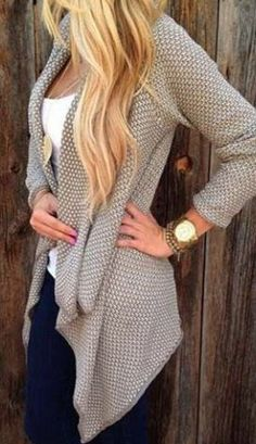 Casual Fall Fashion! Casual Collarless Long Sleeve Knitted  Cardigan