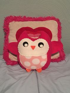 Handmade Pink Plush Owl with Polka Dot Belly.