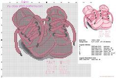 Cuadro nacimiento bebé punto de cruz con zapatos rosados nombre peso longitud