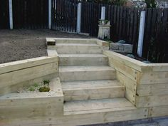 stairs and retaining wall made of timber sleepers