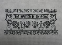 Dr. Horrible cross stitch/blackwork - The Hammer - NEEDLEWORK