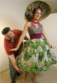 strange clothes women wear | vegetable fabric Strange vegetable fashion. ladies look pretty quite ...