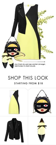"""""""you treat me just like another stranger"""" by queenrachietemplateaddict ❤ liked on Polyvore featuring WithChic, LE3NO, Marni, Shaun Leane, colorblock, quote and yellowandblack"""