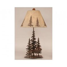 Iron Pine Trees with Elk Lamp | Antlers Etc - Rustic Cabin, Lodge & Hunting Decor