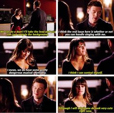 """Finn: """"I mean, we do have some pretty dangerous musical chemistry."""" Rachel: """"I think I can control myself. Glee Rachel And Finn, Finn Glee, Lea And Cory, Glee Memes, Glee Quotes, Tv Show Quotes, Teenage Love Quotes, Finn Hudson, Glee Club"""