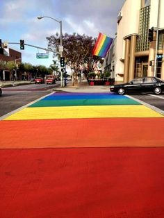 They've painted the cross walks in West Hollywood for LA Pride 2012.