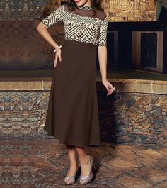 #Brown #Linen #Embroidered #Kurti at #Indianroots