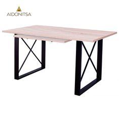 Επεκτεινόμενο τραπέζι 140(40)x90x79 κατάλληλο για την τραπεζαρία και τη κουζίνα. Μεταλλικά ποδια. Ελληνικής κατασκευής. Από την Alphab2b.gr Dining Room, Dining Table, Santorini, Furniture, Home Decor, Decoration Home, Room Decor, Dinner Table, Home Furnishings