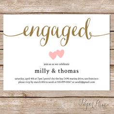 Printable engagement party invitation / Modern Wedding / Couples shower invite