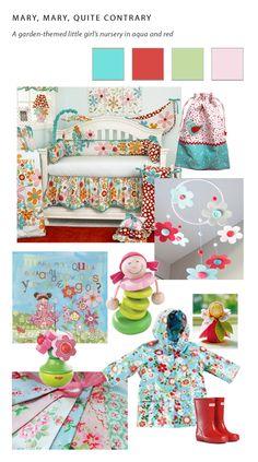 A BABY GIRL'S NURSERY IN AQUA AND RED http://homedesignhandbook.com/ #nursery #girl