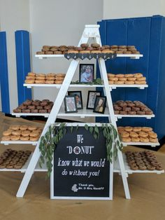 Donut display at my nieces wedding. There were 29 dozen donuts displayed for the wedding guests. Hugh hit.