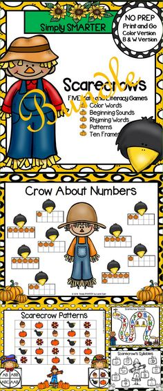 Are you looking for NO PREP literacy and math games for preschool, kindergarten, or first grade? Then download this bundle and go!  Enjoy this phonics and math resource which is comprised of FIVE different SCARECROW themed games complete with a color version and black and white version of each game.  The games can be used for small group work, partner collaboration, or homework! Literacy Games, Classroom Games, Preschool Kindergarten, Literacy Centers, Preschool Activities, Teaching First Grade, Teaching Math, Teaching Resources, Teaching Ideas