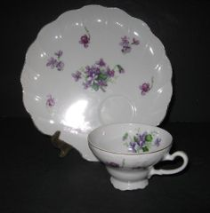JY: Vtg Snack Hostess Set Violets Shell Shape Tray/Plate Tea Cup Set Gold Fine China | eBay.com