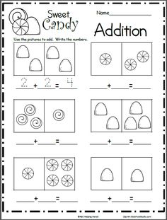 Free Candy Addition Math Worksheet – Great for December and Christmas or February and Valentine's Day. Students use the pictures to complete the addition math sentence. Count the pictu…