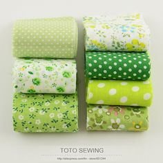 F033# new arrivals 100%cotton fabric green sets 7pcs/lot jelly roll quilting patchwork fabric strips handmade crafts 5cm x100cm