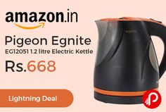 Amazon #LightningDeal is offering 39% off on Pigeon Egnite EG12051 1.2 litre Electric Kettle at Rs.668 Only. 360 degree rotation cordless kettle, Concealed wiring, on and off switch, Cool handle touch, Easy to pour and shows water level indication, 1 year on product Warranty.  http://www.paisebachaoindia.com/pigeon-egnite-eg12051-1-2-litre-electric-kettle-at-rs-668-only-amazon/