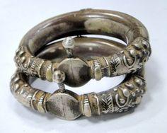 theiainteriordesign:  vintage antique ethnic tribal old silver bangle bracelet cuff jewelry pair