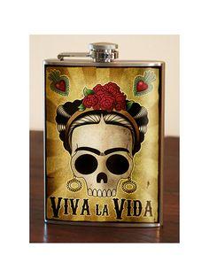 Frida Viva la Vida Stainless Steel flask 8oz by trixieandmilo, $26.00