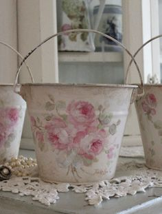 Shabby Sweet Vintage Style Rose Bouquet Bucket - Debi Coules Romantic Art