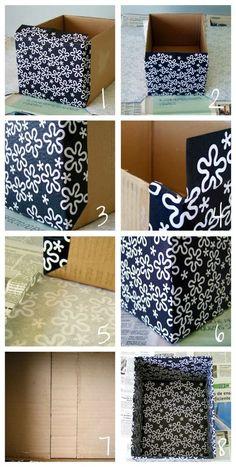 Craft Cardboard Box Diy Storage Ideas For 2019 Cardboard Box Diy, Cardboard Storage, Fabric Storage Boxes, Cardboard Furniture, Fabric Boxes, Shoe Storage, Craft Storage, Diy Furniture, Baby Girl Room Decor