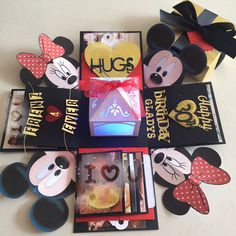 "Buy Mickey Minnie Explosion Box With Lighthouse. 4 Waterfall In Black , Gold & Red in Singapore,Singapore. ----------- Info ------------- Size: 4x4"" Explosion box card with - 2 layers - 4 customized photos at the base layer - a 3D lighthouse in the center with bat Chat to Buy"