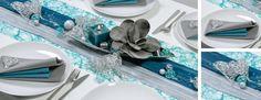 Tischdekoration zur Hochzeit in Petrol mit Silberherzen aus Draht und Dekorkugeln