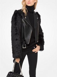 c873294c07637 Faux-Fur and Leather Moto Jacket     Biker Chic