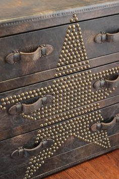 Studded leather trunk/dresser