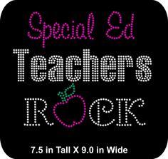 Special Ed Teachers Rock - Rhinestone Bling Iron-on Appliqué T-shirt Transfer  - Bling DIY - pinned by pin4etsy.com