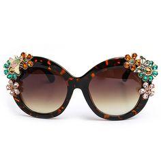 Bella Rhinestone Embellished Oversized Sunglasses Cat Eyes