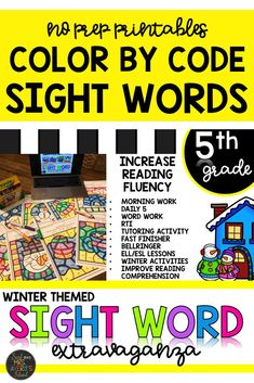 These winter themed fifth grade color by code activity sheets are perfect for increasing reading fluency.  You will LOVE these no prep sight word printables, and your students will be begging you for more!  These worksheets are perfect for your winter literacy centers, January morning work, inside recess activities fast finisher activities, sub tub, and so much more!  Click here to see for yourself! #sightwords #winteractivitiesforkids #literacycenters #colorbycode #fifthgrade #frysightwords